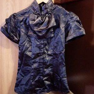 Size Small Black Shiny Blouse by Charlotte Russe